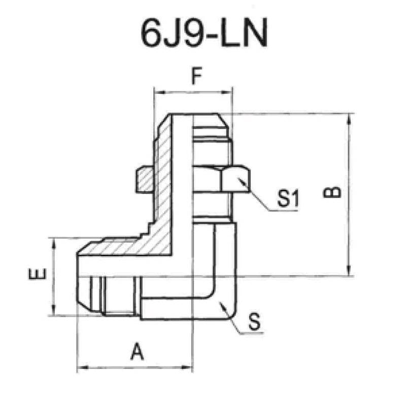 90°美制JIC外螺纹74°外锥过板接头