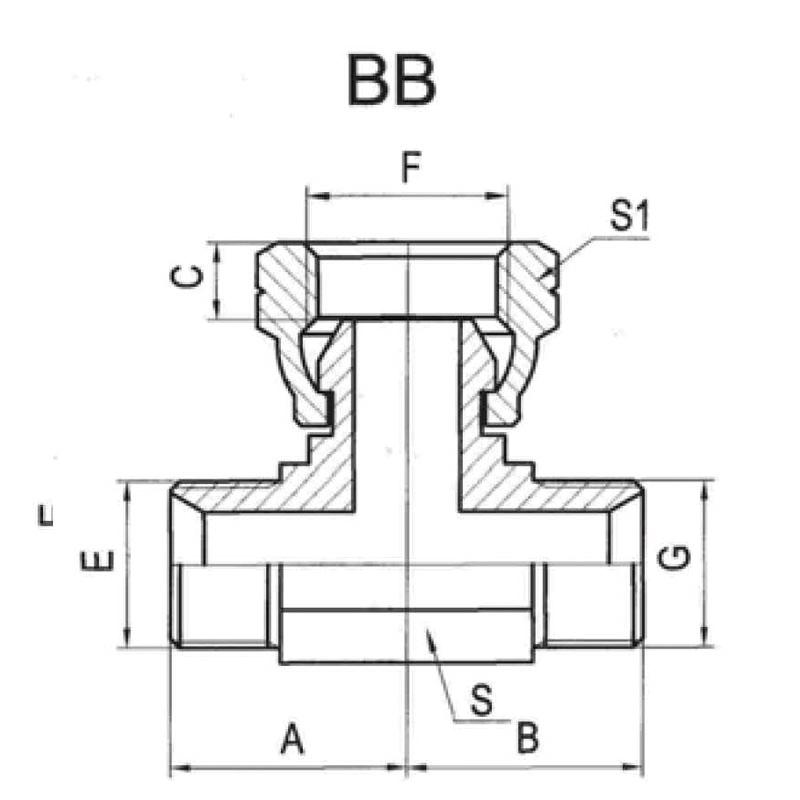 BSP外螺纹60°内锥/内螺纹60°外锥分支三通