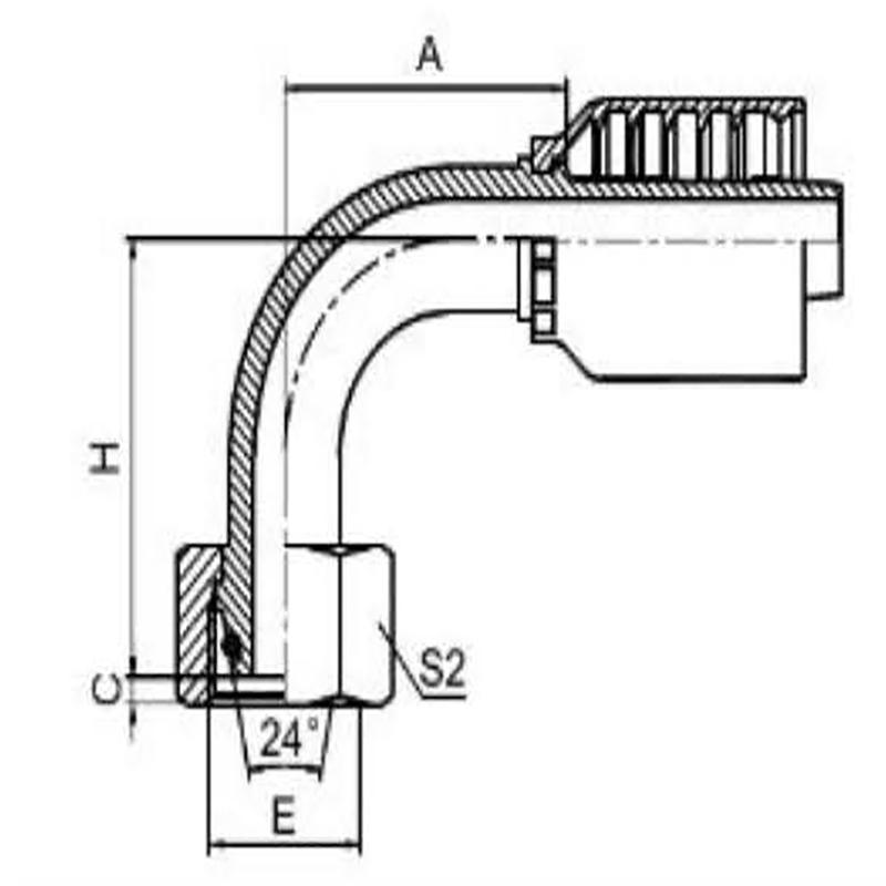 90°公制内螺纹24°锥带O型圈密封轻系列一体式