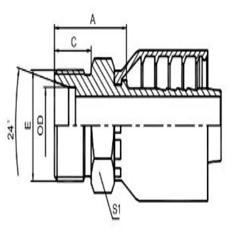 公制外螺纹 24° 内锥面重系列一体式