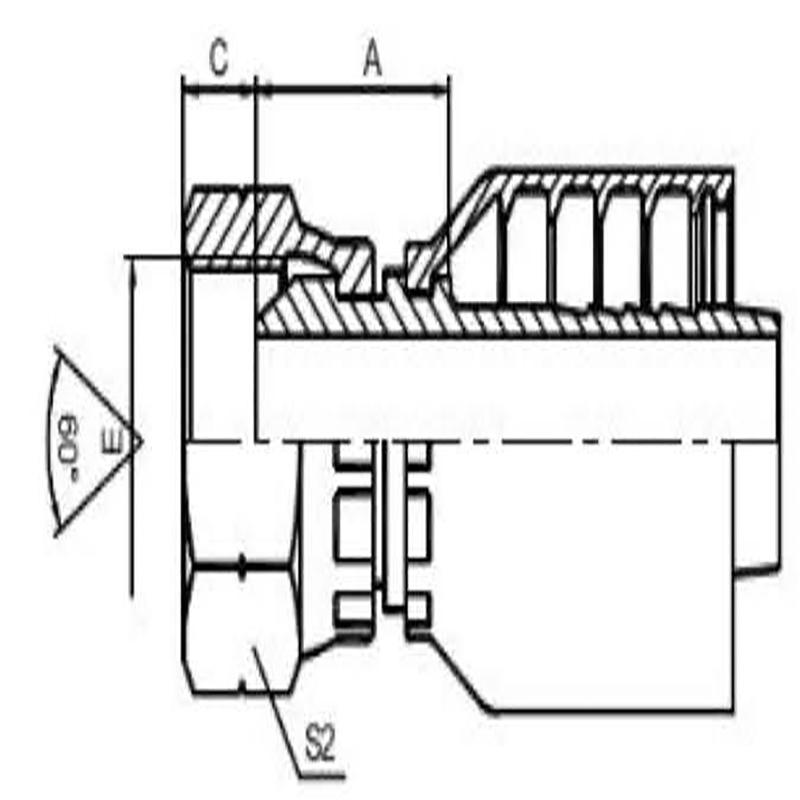 英管内螺纹60°外锥面一体式
