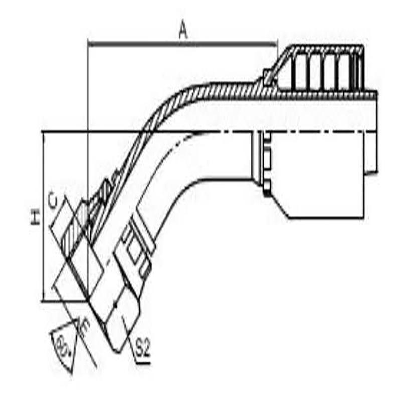 45°英管内螺纹60°外锥面一体式