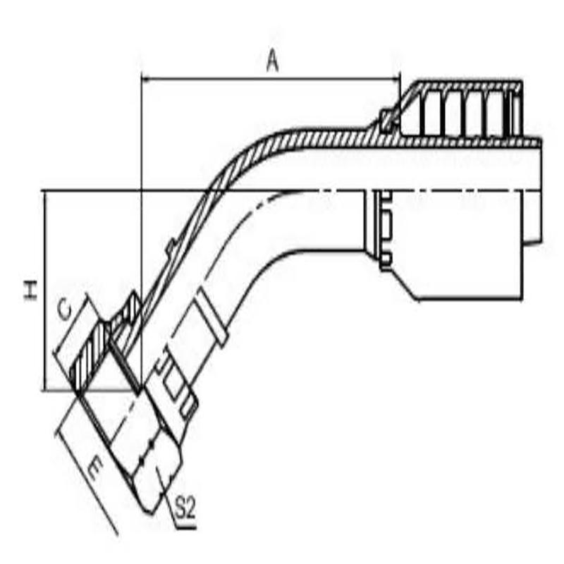 45°美制ORFS内螺纹平面一体式