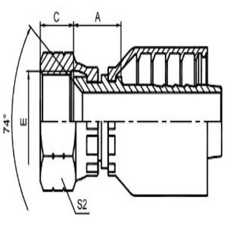 美制JIC74°内锥面一体式
