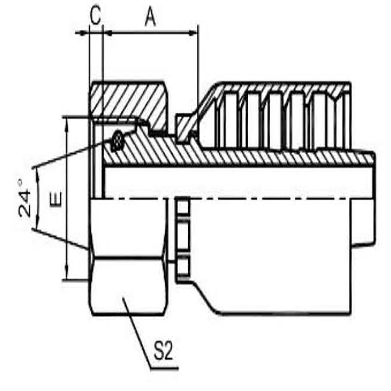 公制内螺纹24°锥带O型圈密封轻系列一体式