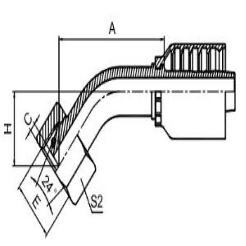 45°公制内螺纹24°锥带O型圈密封轻系列一体式