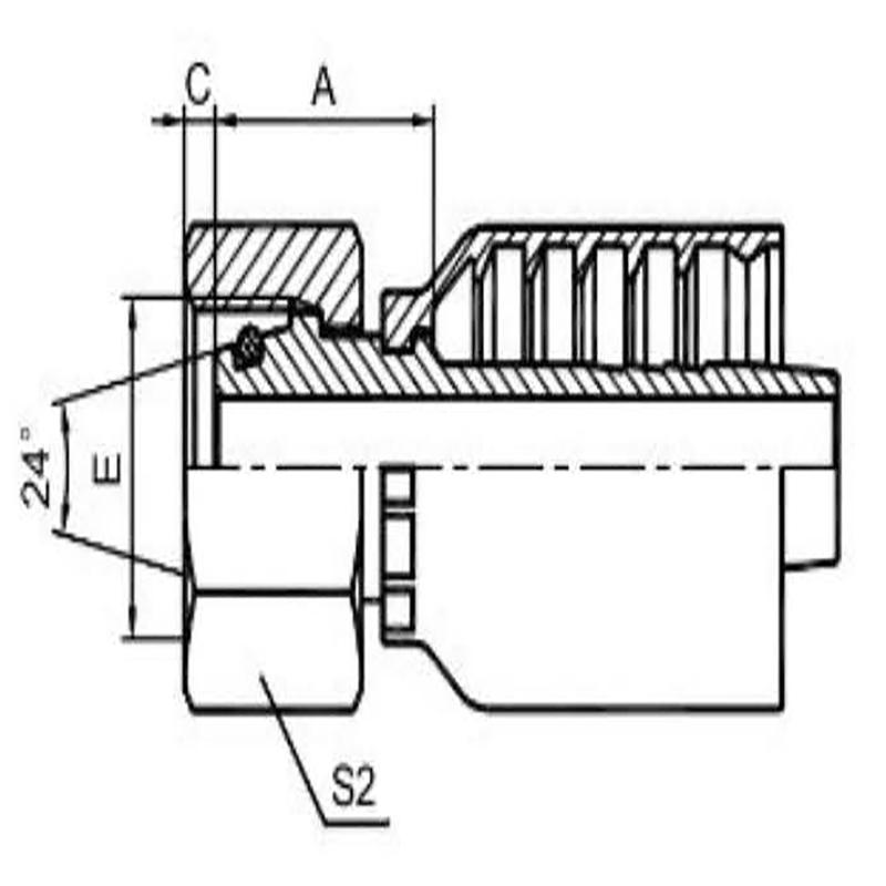 公制内螺纹24°内锥面重系列一体式
