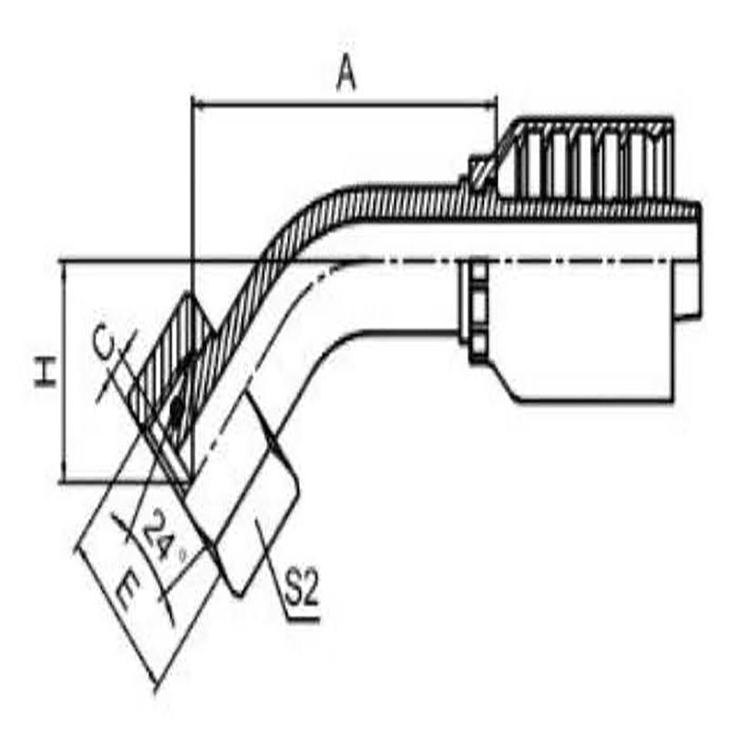 45°公制内螺纹 24° 内锥面重系列一体式
